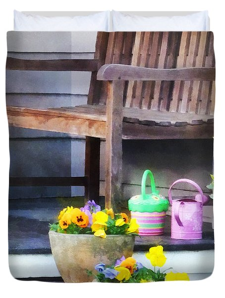 Pansies And Watering Cans On Steps Duvet Cover by Susan Savad