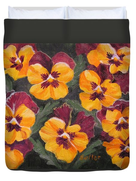 Pansies Are For Thoughts Duvet Cover