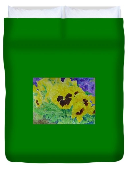Pansies Colorful Flowers Floral Garden Art Painting Bright Yellow Pansy Original  Duvet Cover