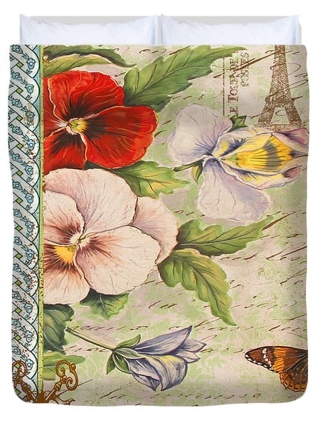 Pansy Garden-a Duvet Cover by Jean Plout