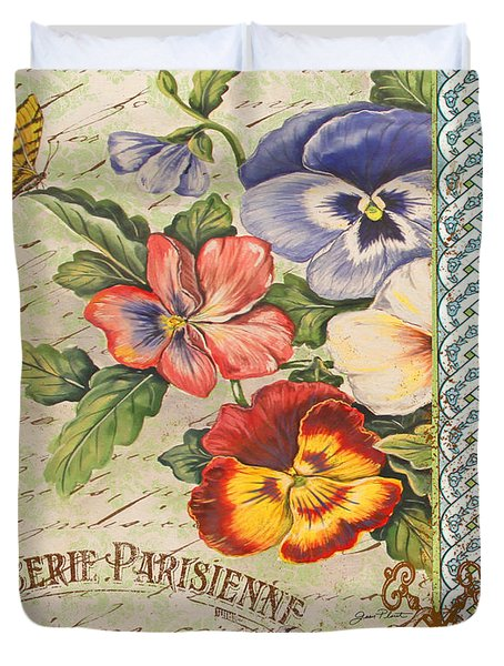 Pansy Garden-b Duvet Cover by Jean Plout