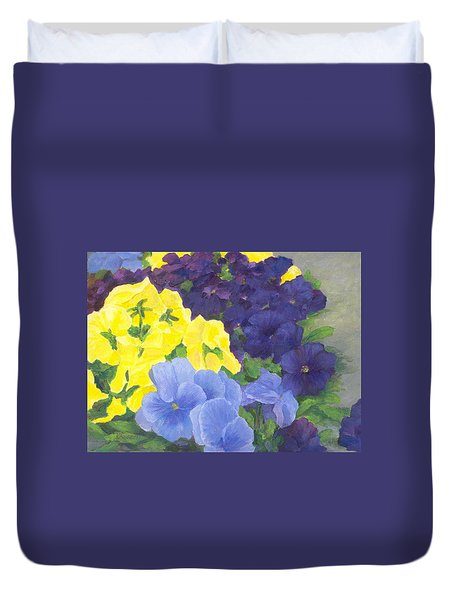 Pansy Garden Bright Colorful Flowers Painting Pansies Floral Art Artist K. Joann Russell Duvet Cover