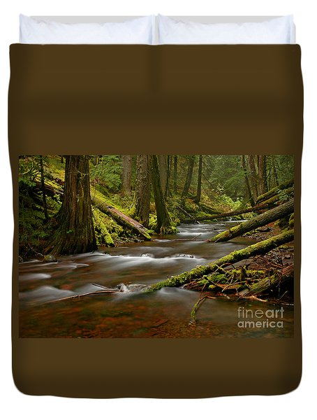 Duvet Cover featuring the photograph Panther Creek Landscape by Nick  Boren