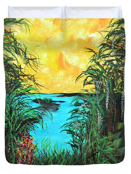 Duvet Cover featuring the painting Panther Island In The Bayou by Alys Caviness-Gober