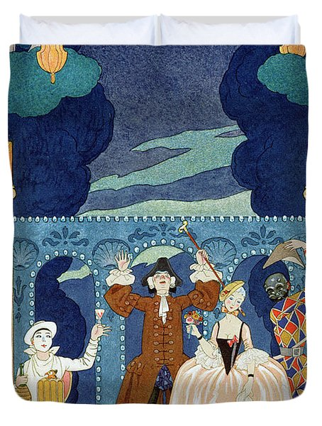 Pantomime Stage Duvet Cover by Georges Barbier