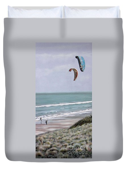 Duvet Cover featuring the painting Papamoa Beach 090208 by Sylvia Kula