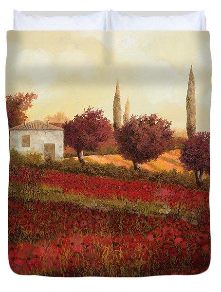 Papaveri In Toscana Duvet Cover by Guido Borelli