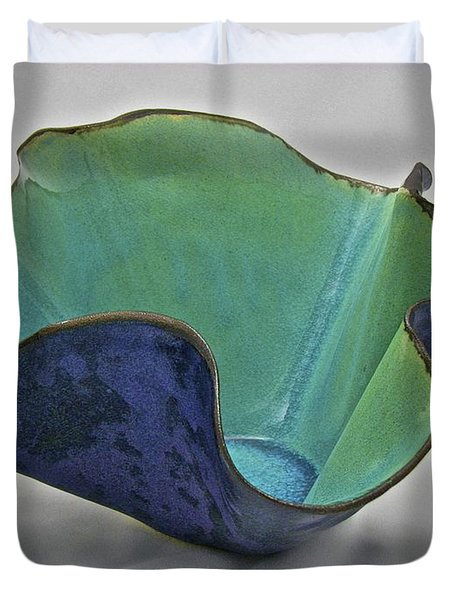 Duvet Cover featuring the sculpture Paper-thin Bowl  09-006 by Mario Perron