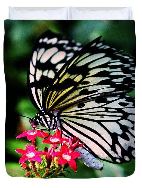 Paper White Butterfly Duvet Cover