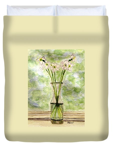 Paper Whites In Sunlight Duvet Cover by Angela Davies