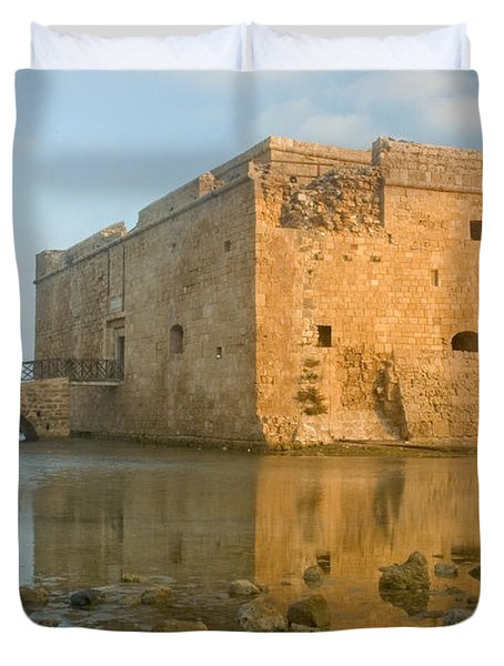 Duvet Cover featuring the photograph Paphos Harbour Castle by Jeremy Voisey
