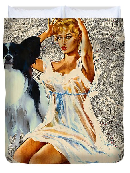 Papillon Art - Una Parisienne Movie Poster Duvet Cover by Sandra Sij