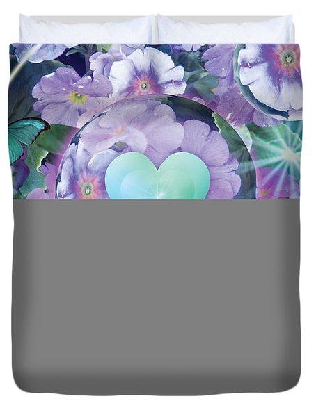 Paradise Garden Heart Duvet Cover by Alixandra Mullins