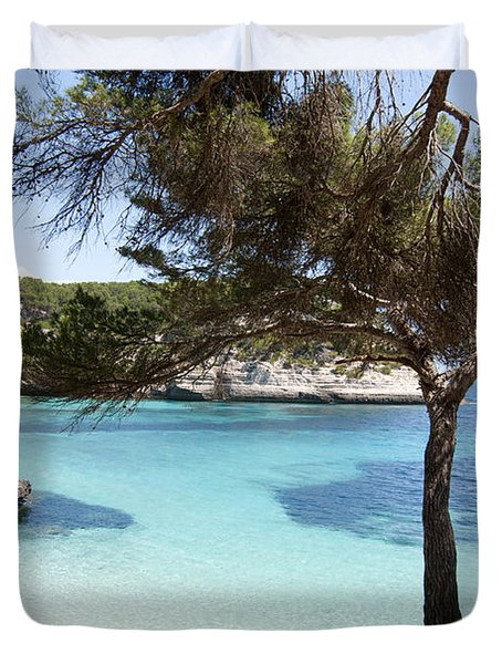 Paradise In Minorca Is Called Cala Mitjana Beach Where Sand Is Almost White And Sea Is A Deep Blue  Duvet Cover