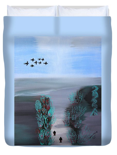 Duvet Cover featuring the painting Paradise by Lorna Maza