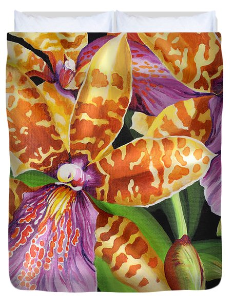 Duvet Cover featuring the painting Paradise Orchid by Jane Girardot