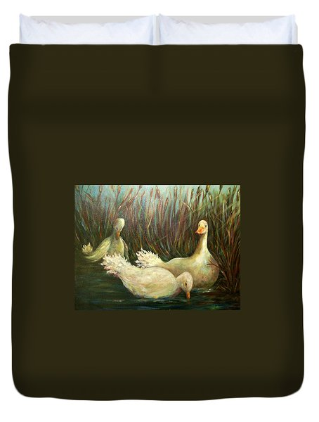Paradise Pond,ducks  Duvet Cover