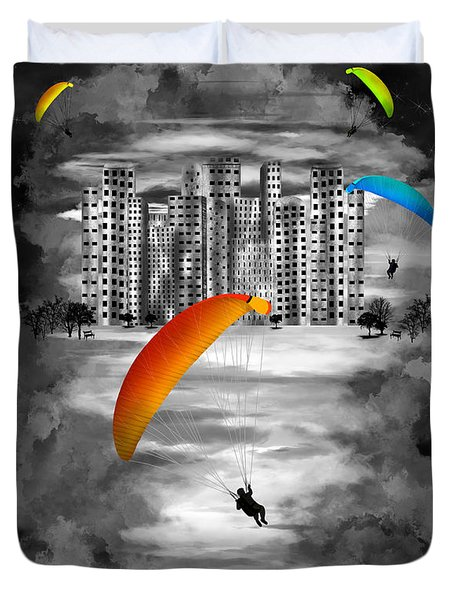 Paragliders Duvet Cover