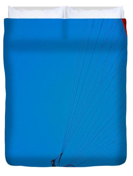 Paragliding Duvet Cover by Karol Livote
