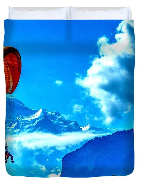 Duvet Cover featuring the photograph Parasailing Swiss Alps by Joe  Ng