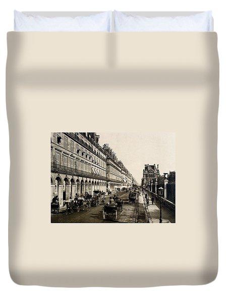 Paris 1900 Rue De Rivoli Duvet Cover