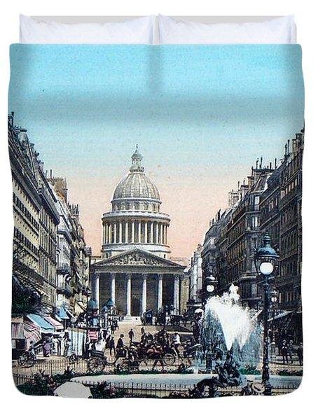 Paris 1910 Rue Soufflot And Pantheon Duvet Cover