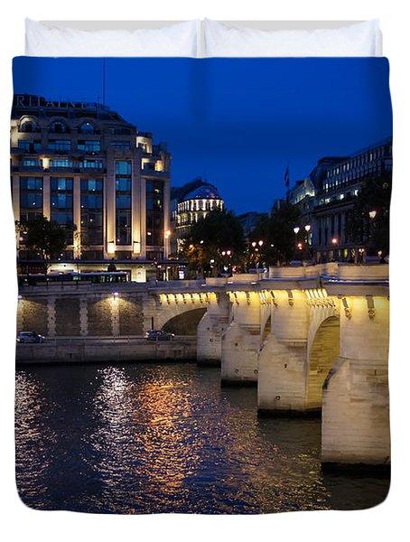 Paris Blue Hour - Pont Neuf Bridge And La Samaritaine Duvet Cover by Georgia Mizuleva