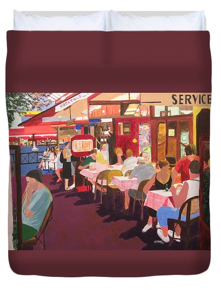 Paris Cafe At Dusk Duvet Cover