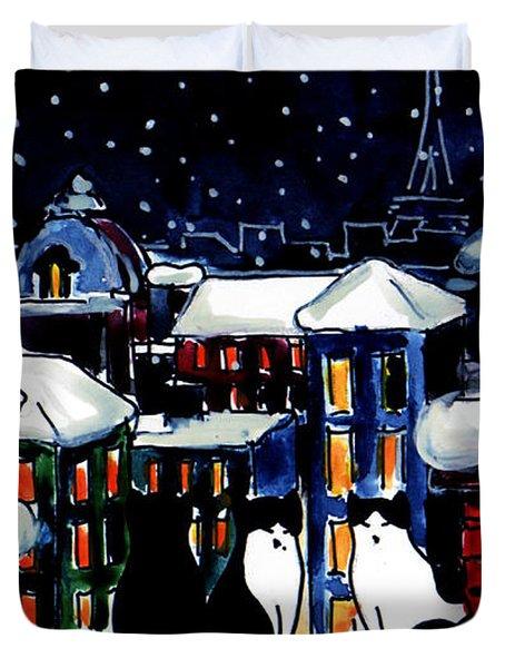 Paris Cats Duvet Cover