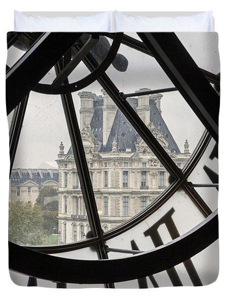 Paris Clock Duvet Cover by Brian Jannsen