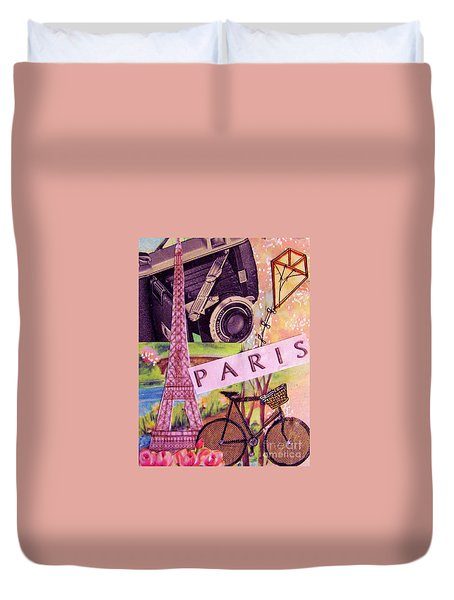 Duvet Cover featuring the drawing Paris  by Eloise Schneider