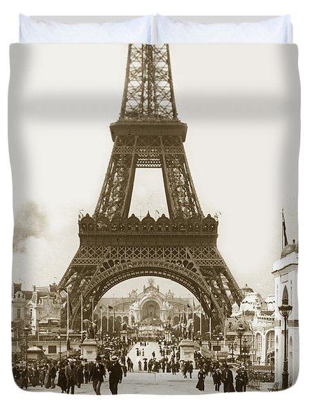 Paris Exposition Eiffel Tower Paris France 1900  Historical Photos Duvet Cover