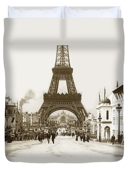 Paris Exposition Eiffel Tower Paris France 1900  Historical Photos Duvet Cover