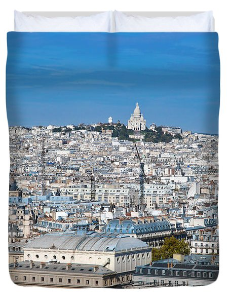 Paris France Sacre-coeur Basilica Duvet Cover by Michal Bednarek