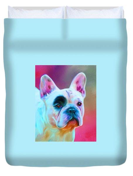 Vibrant French Bull Dog Portrait Duvet Cover by Michelle Wrighton