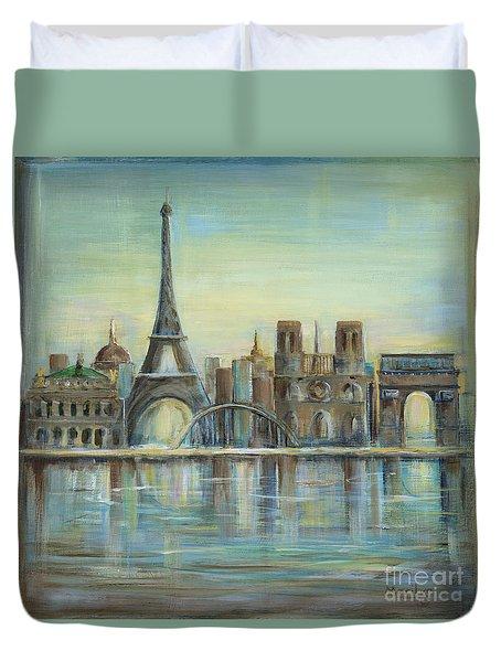Paris Highlights Duvet Cover by Marilyn Dunlap