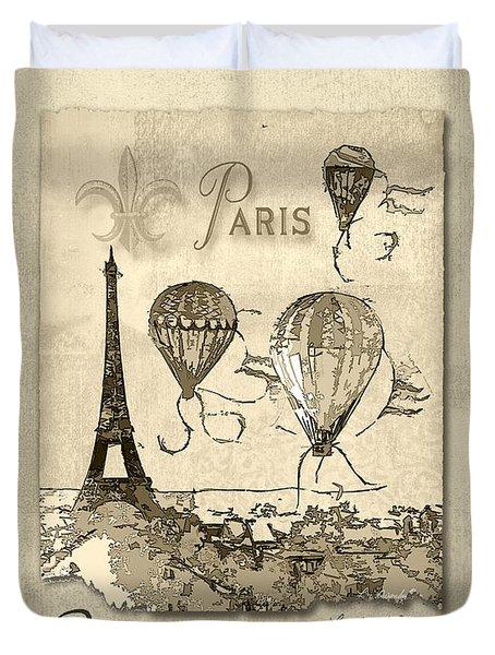 Paris In Sepia Duvet Cover