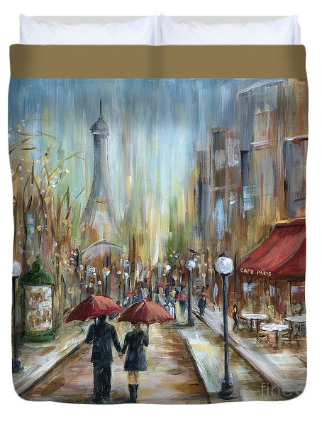 Paris Lovers Ill Duvet Cover by Marilyn Dunlap