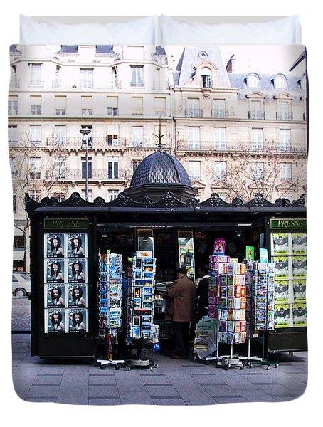 Paris Magazine Kiosk Duvet Cover by Thomas Marchessault