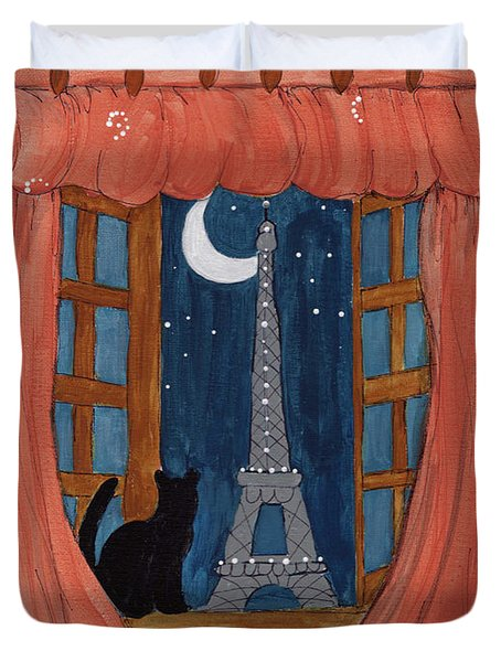 Paris Moonlight Duvet Cover by Lee Owenby