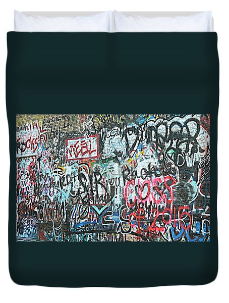 Duvet Cover featuring the photograph Paris Mountain Graffiti by Kathy Barney