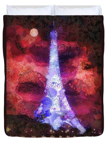 Paris Night Duvet Cover by Mo T