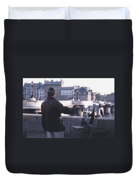 Duvet Cover featuring the photograph Paris Painter Inspiration Magritte by Tom Wurl