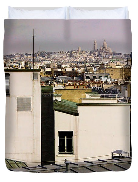 Paris Rooftop Panorama Duvet Cover by Thomas Marchessault
