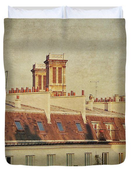 Paris Rooftops Duvet Cover by Ivy Ho