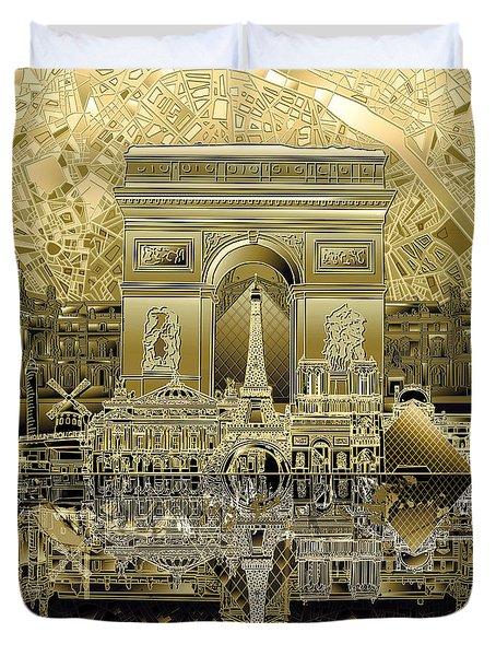 Paris Skyline Landmarks 4 Duvet Cover