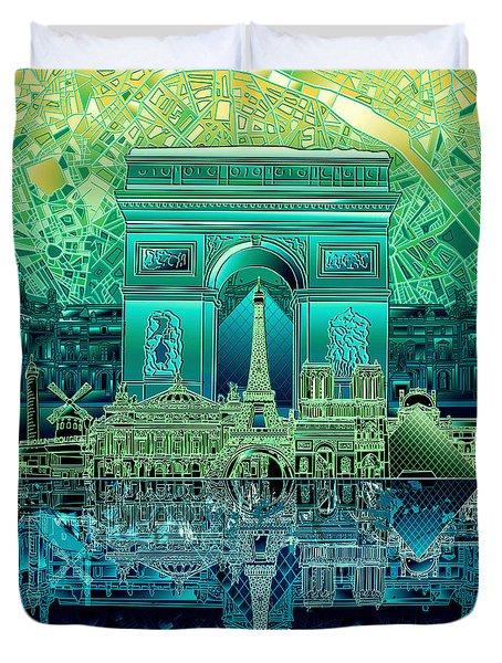 Paris Skyline Landmarks 6 Duvet Cover