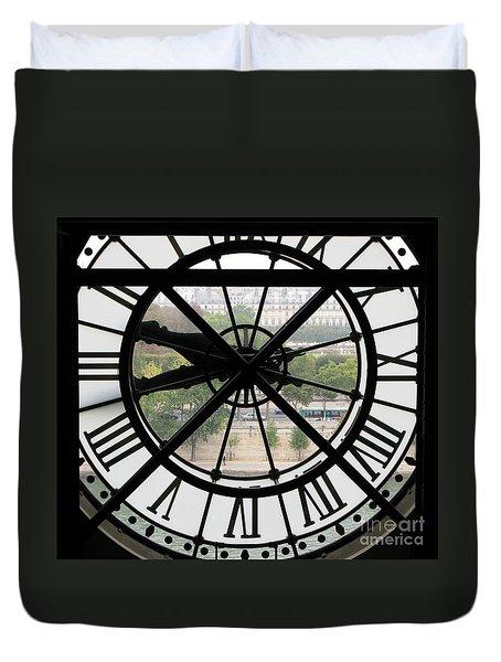 Duvet Cover featuring the photograph Paris Time by Ann Horn
