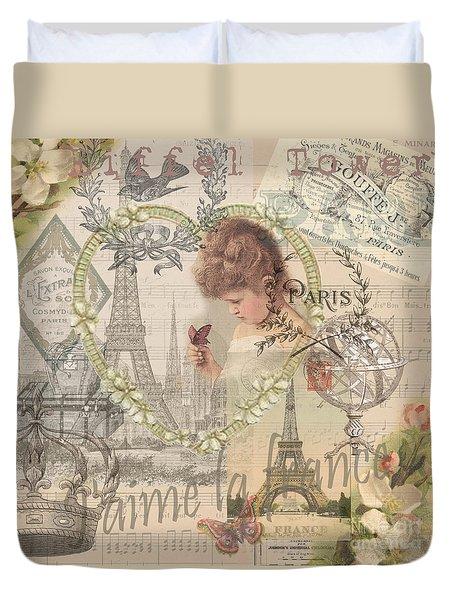 Paris Vintage Collage With Child Duvet Cover