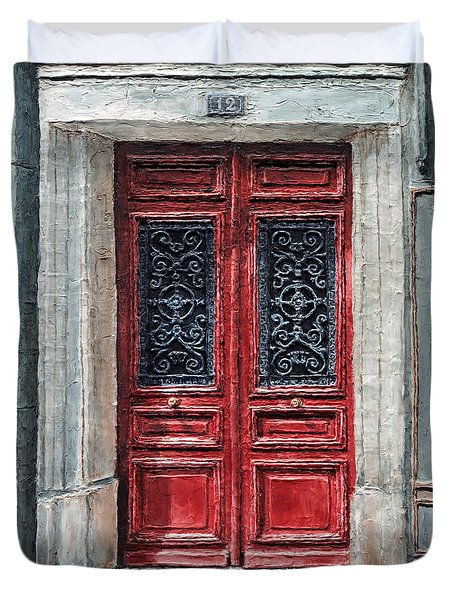 Duvet Cover featuring the painting Parisian Door No. 12 by Joey Agbayani